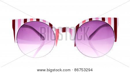 Rose And White Strip Sunglasses