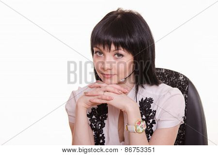 Portrait Of Call-center Employee In A Chair