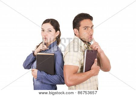 couple of cheerful happy attractive students holding book