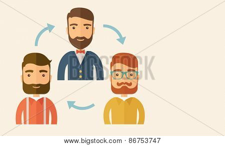 Three happy Caucasian employees with beard communicating and exchanging ideas each other for them to  come up a   good marketing strategy before they will present it. Teamwork and gathering ideas