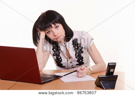 Tired Worker Call-center Front Of Monitor, Leaned Her Head On