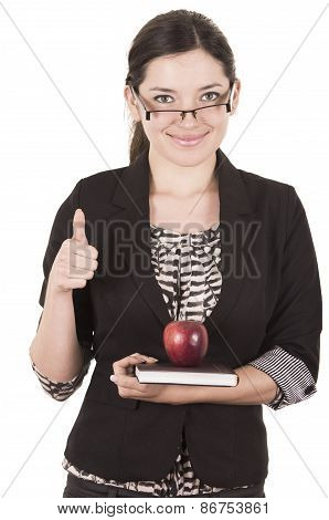 sweet female teacher holding red apple