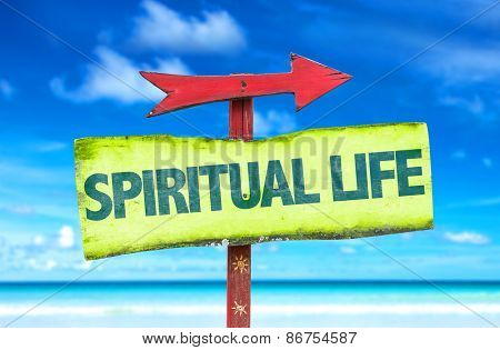 Spiritual Life sign with beach background