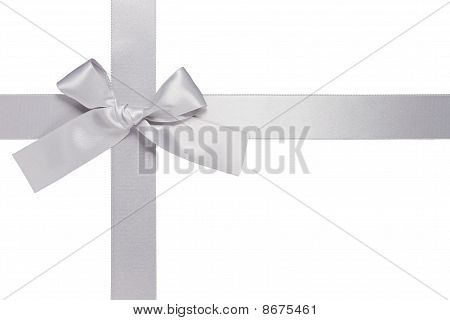 Silver Colore Cross Ribbon With Bow, Isolated