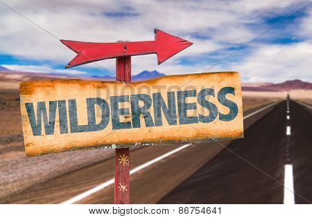 Wilderness sign with road background