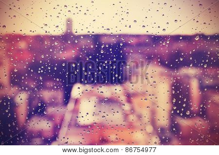 Abstract Background Made Of Rain Drops On Window.