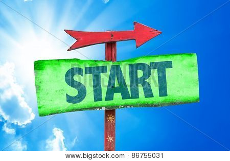 Start sign with sky background