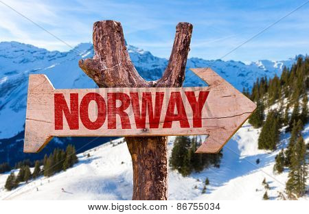 Norway wooden sign with alps background