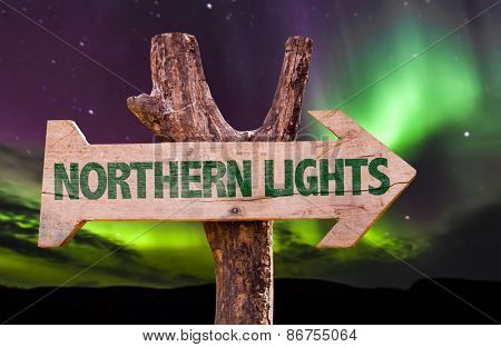Northern Lights wooden direction sign