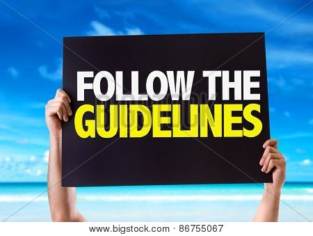 Follow the Guidelines card with beach background