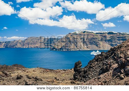 View From Volcano Of The Santorini Island, Greece