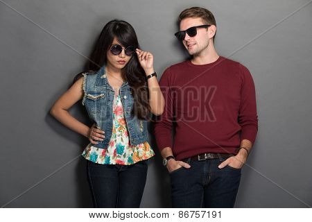 Young Happy Multicultural Couple Chic Pose