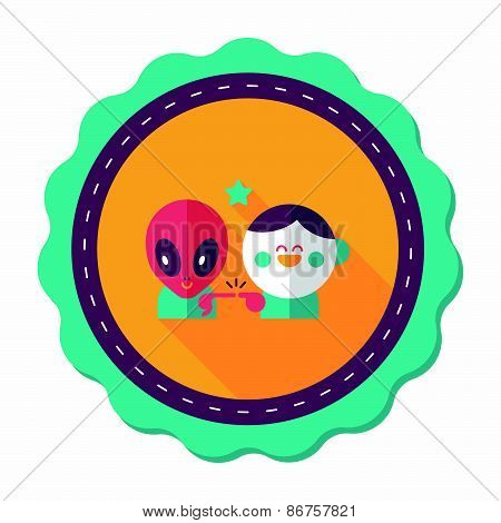 Space Alien And Boy Friendship Flat Icon With Long Shadow,eps10