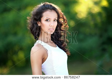 Portrait Of A Beautiful Brunette In A Sporting Manner