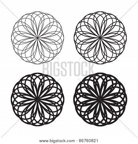 Set of black circular linear icons, logos, monograms, emblems