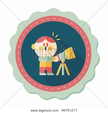 Space Boy And Telescope Flat Icon With Long Shadow,eps10