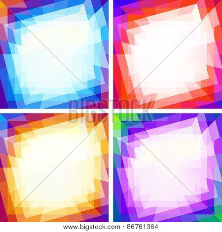 Set of Bright Abstract Colorful Technology Frames, Backgrounds
