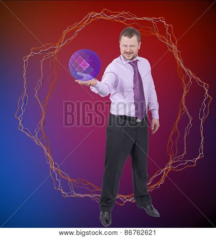 Businessman holding his right hand out, palm up with sphere on abstract background