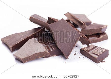 Dark chocolate isolated on white background