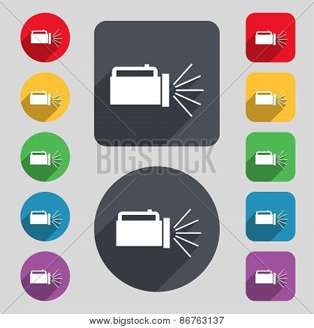 Flashlight Icon Sign. A Set Of 12 Colored Buttons And A Long Shadow