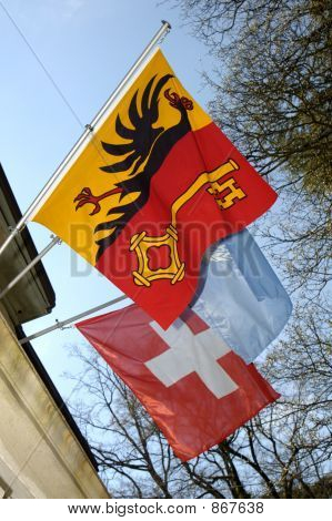 Geneva, Swiss and UN flags