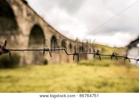 Old Bridge With Barbed Wire