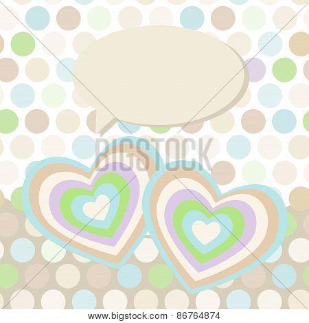 Polka dot background, pattern. Heart on dot background. Vector