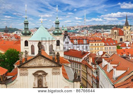 Prague spires  from above