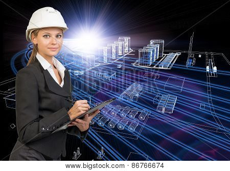 Businesswoman holding clipboard. Wire-frame industry buildings as backdrop