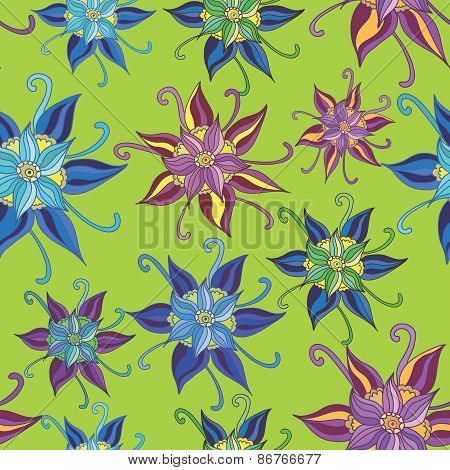 Vector Pattern with Spring Flowers