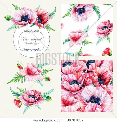 Set Of Pink Poppies, Frame, Decorative Element And Two Seamless Patterns.