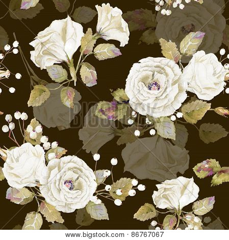 Seamless Pattern Of Vector Watercolor White Roses On Brown Bacground.