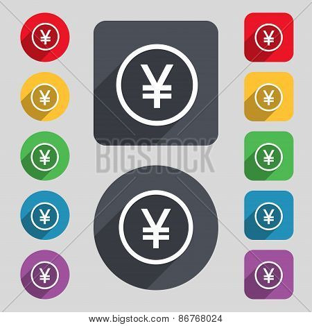 Japanese Yuan Icon Sign. A Set Of 12 Colored Buttons And A Long Shadow