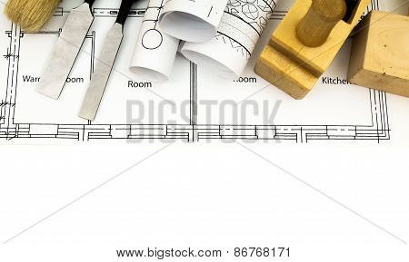 Joiner's works. Drawings for building and working tools on white background.
