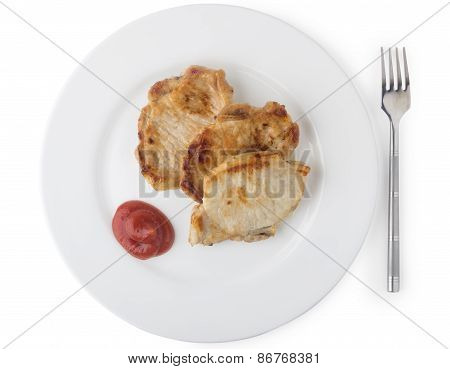 Fried Pork Cutlet, Tomato Sauce On Plate