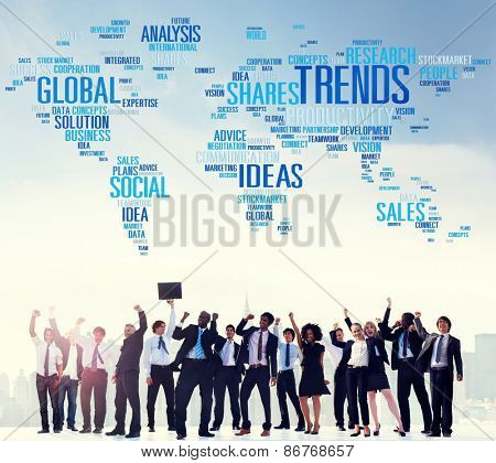 Global Shares Trends Ideas Sales Solution Expertise Concept