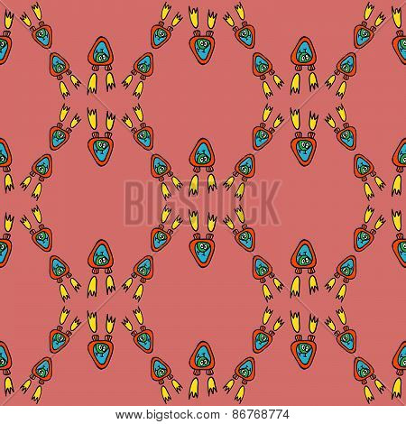 seamless pattern with alien flying devices