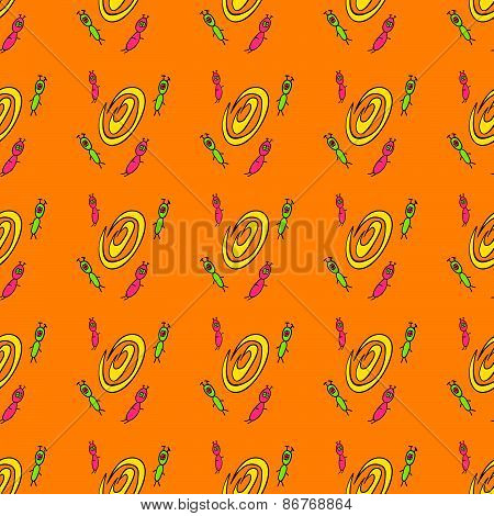 seamless pattern with cute aliens