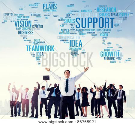 Support Idea Plans Vision Buiness Growth Global Concept