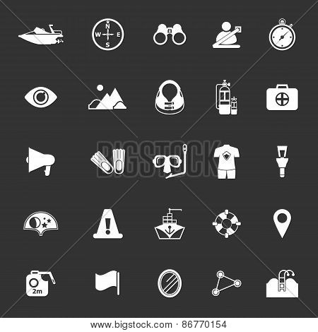 Waterway Related Icons On Gray Background