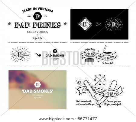 vector set - Trendy Retro Vintage Insignias - Badges