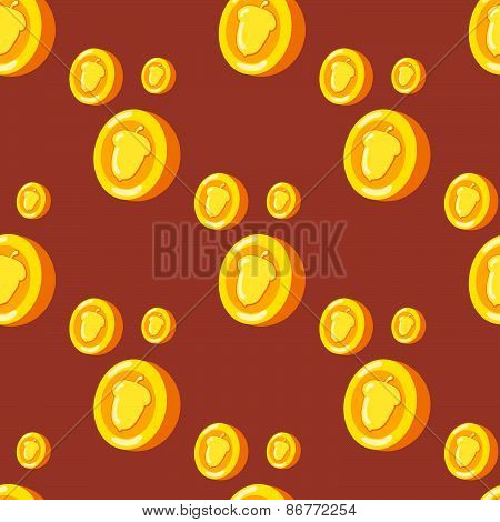 seamless pattern with gold coins which depicts a nut