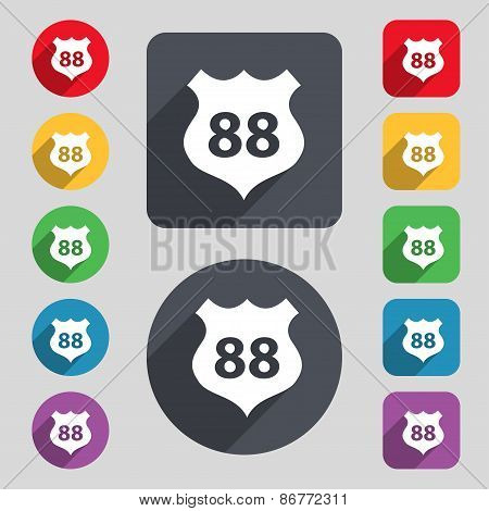 Route 88 Highway Icon Sign. A Set Of 12 Colored Buttons And A Long Shadow