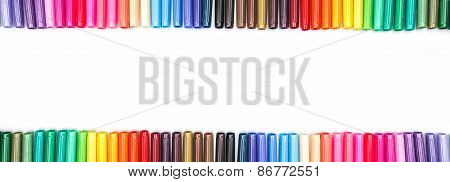 Frame of colored felt tip pens