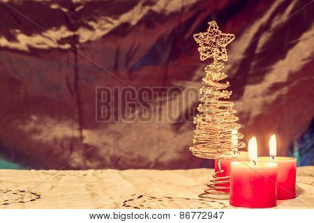 Burning Candles With Christmas Tree On The Warm Background, Christmas Decoration