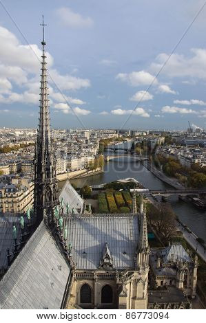 View Of Paris From Top Notre Dame In The Autumn Evening