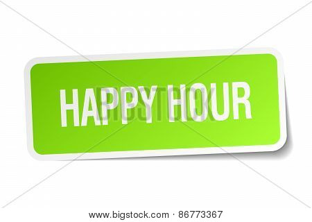 Happy Hour Green Square Sticker On White Background