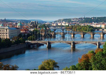 Bridges of Prague over VLtava river