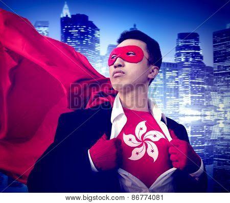 Superhero Businessman Hong Kong Cityscape Concept