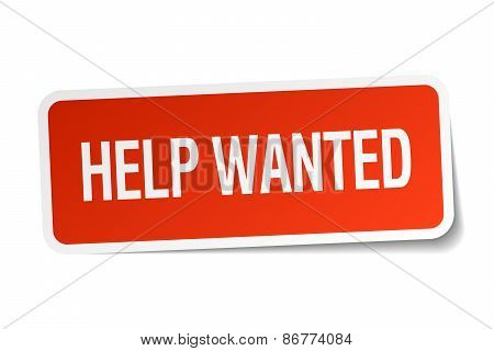 Help Wanted Red Square Sticker Isolated On White